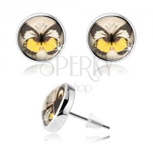 Cabochon fülbevaló, átlátszó domború fénymáz, színes pillangó, stekker