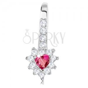 Csillogó medál, 925 ezüst, rózsaszín cirkóniás szívecske, átlátszó keret