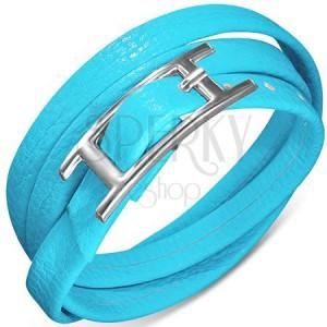 Hármas műbőr karkötő kék színben, csatos kapcsolás