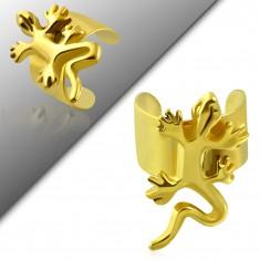 Hamis piercing a fülbe sebészeti acélból, arany szín, fényes gyíkocska