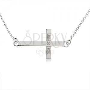 """Nyakék 925 ezüstből, fényes latin kereszt, """"JESUS"""" felirat, finom lánc"""