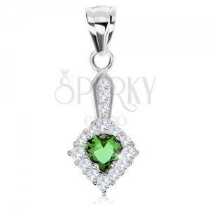 925 ezüst medál, zöld cirkóniás szívecske, csillogó rombusz