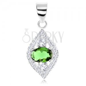 925 ezüst medál, magszem körvonal, csillogó keret, zöld ovális, cirkóniák