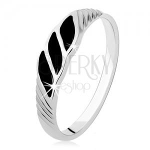 925 ezüst gyűrű, három fekete ónix hullám, ferde bemetszések