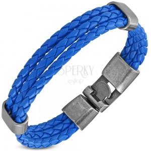 Kék műbőr karkötő, három szűk fonott sáv, mozgatható oválisok