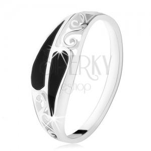 Gyűrű 925 ezüstből, két szűk ónix könnycsepp, filigrán díszítés