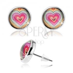 Kör fülbevaló átlátszó kidomborodó üveggel, színes szívecskék, stekkerek