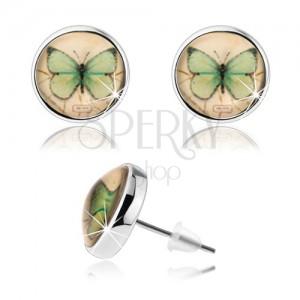 Kaboson fülbevaló, átlátszó kidomborodó fénymáz, zöld pillangó, sárga alap