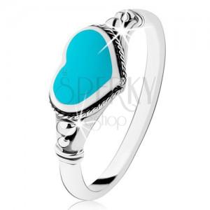 925 ezüst gyűrű, patináns, szív türkizből, golyók