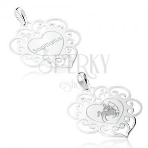 Medál 925 ezüstből, szívecske ornamentumokkal, NYILAS csillagjegy