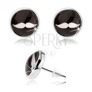 Cabochon fülbevaló, stekkerek, átlátszó üveg, fehér bajusz fekete alapon