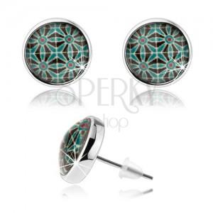 Kaboson fülbevaló, átlátszó üveg, ezüst szín, szimmetrikus kép - virágok