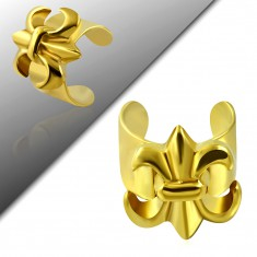 Fake piercing fülbe 316L acélból, arany szín, Fleur de Lis