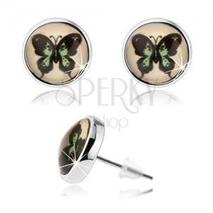 Kerek kaboson fülbevaló, kidomborodó üveg, zöld-fekete pillangó, stekkerek