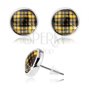 Kör fülbevaló ezüst színben, sárga-fekete kockás minta, kaboson