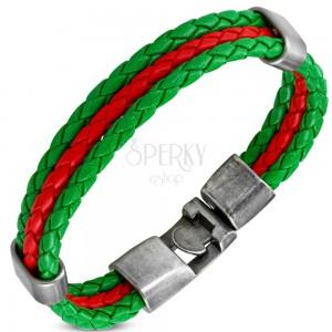 Műbőr karkötő zöld-piros kombinációban, mozgatható oválisok acélból