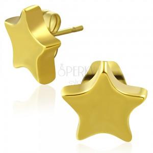 Bedugós tungsten fülbevaló, arany szín, fényes ötágú csillag