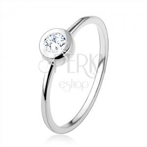 925 ezüst gyűrű, vékony fényes szárak, átlátszó cirkóniák kerek foglaltban