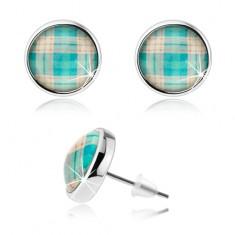 Kaboson fülbevaló, átlátszó kidomborodó fénymáz, kék kockás minta