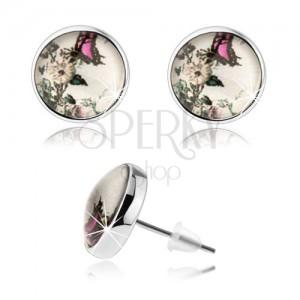 Kerek bedugós fülbevaló, átlátszó kidomborodó üveg, fehér virág, rózsaszín-fekete pillangó
