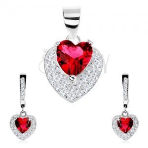 925 ezüst szett, fülbevaló, medál, piros cirkóniás szív, átlátszó kövek