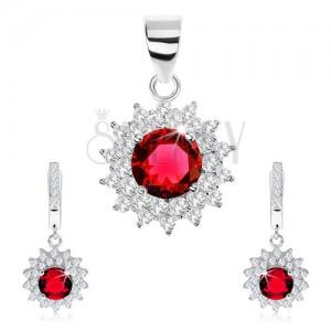 925 ezüst szett - medál és fülbevaló, kerek piros cirkónia átlátszó kerettel