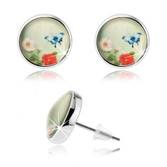 Kaboson fülbevaló, átlátszó kidomborodó üveg, kék pillangó, színes virágok