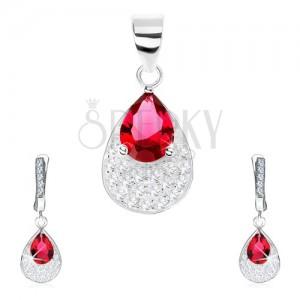 925 ezüst szett - fülbevaló, medál, piros cirkóniás könnycsepp, átlátszó kövek