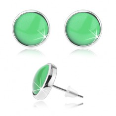 Kaboson fülbevaló, fénymáz, zöld alap, stekkerek, ezüst szín