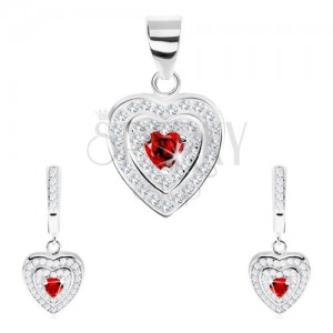925 ezüst szett, medál és fülbevaló, cirkóniás szív, kettős csillogó keret