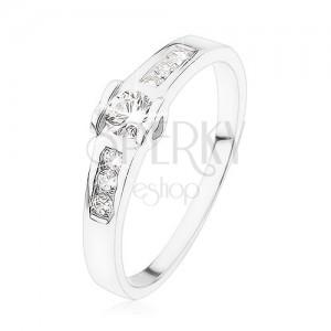 Eljegyzési gyűrű 925 ezüstből, kerek átlátszó kő, szívecske, cirkóniás vonal