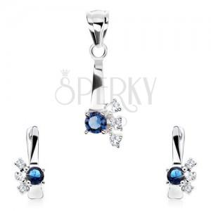 925 ezüst szett, medál, fülbevaló, kék cirkónia, három átlátszó kő