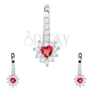 925 ezüst szett, fülbevaló és medál, piros cirkóniás szív, átlátszo keret