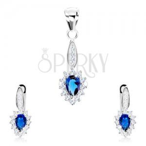 925 ezüst szett, fülbevaló és medál, fordított kék könnycsepp, átlátszó keret