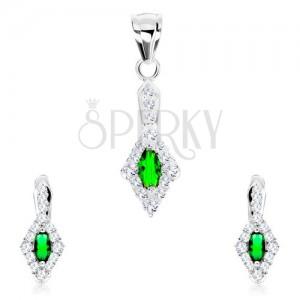 Szett 925 ezüstből, medál és fülbevaló, zöld ovális, rombusz alakú átlátszó keret