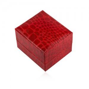 Fényes ajándékdoboz gyűrűnek, piros szín, krokodil minta