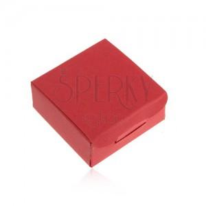 Ajándékdoboz gyűrűre és fülbevalóra, piros szín, ferde bevágások