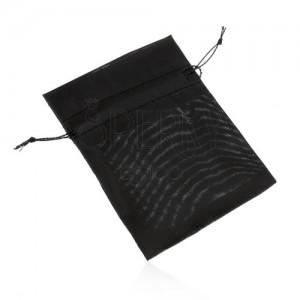Organza batyu ajándékra, fekete szín, sima fényes felület