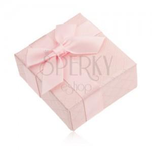 Ajándékdoboz gyűrűre, rózsaszín, fényes felület, masni