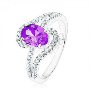 Gyűrű 925 ezüstből, tanzanit színű cirkónia, könnycsepp körvonalak