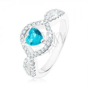 925 ezüst gyűrű, világoskék cirkóniás szív, hullámos átlátszó szárak