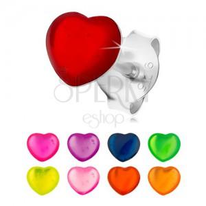 Fülbevaló 925 ezüstből, egyenletes szívecske színes fénymázzal borítva