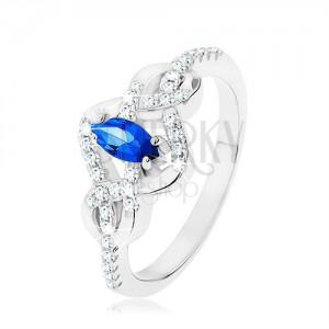 925 ezüst gyűrű, kék cirkóniás ovális, összefonott vonalak cirkóniákkal díszítve