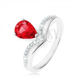 925 ezüst gyűrű, fordított könnycsepp - rózsaszín cirkónia, csúcsos vonal