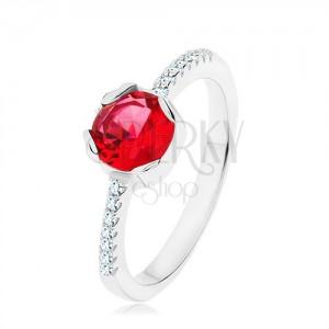 925 ezüst gyűrű, kerek piros cirkónia, szűk szárak, átlátszó kövek