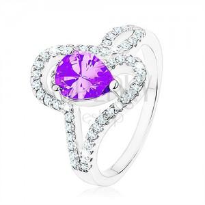 925 ezüst gyűrű, tanzanit színű cirkónia - könnycsepp, összefonódott vonalak