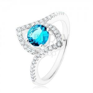 Gyűrű, 925 ezüst, élénkkék cirkónia - kör, csúcsos magszem - kontúr