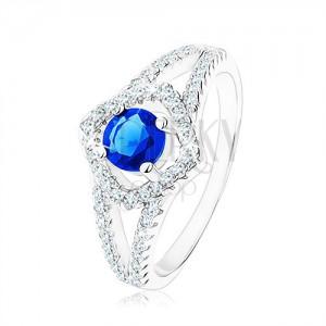 925 ezüst gyűrű, kettős szárak, négyzet körvonal, kék cirkónia