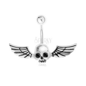 316L acél piercing köldökbe, sötétben világító koponya szárnyakkal