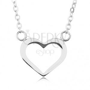 Nyaklánc 316L acélból, ezüst szín, szimmetrikus szív körvonal